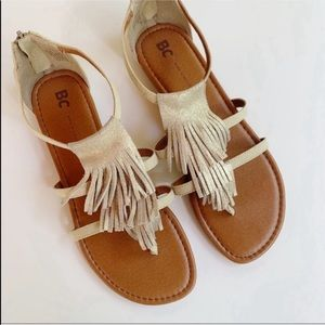 BC Gold Boho Fringe Sandals